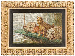 A late 19th century Italian micro mosaic picture, Cani in guardia ardente (Guard Dogs on Alert)