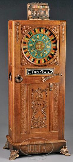 Slot Machine Mills Owl Single Wheel Floor Cabinet Oak