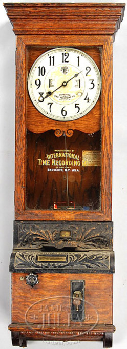 Time Recorder Clock International Time Recording Co Oak