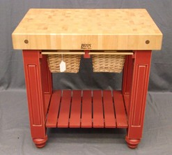 Butcher block boos john red paint 2 wicker baskets for Jewelry stores effingham il