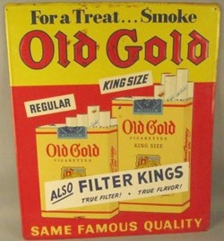 Advertising Tobacco Old Gold Cigarettes Sign Same