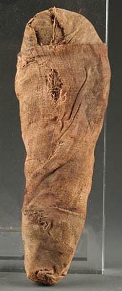 An Egyptian mummified bird, circa 1500 B.C., wrapped in layers of linen.