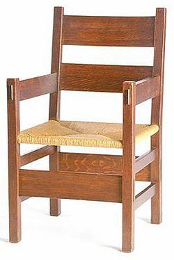 Furniture Chair Arm Arts Amp Crafts Stickley Gustav Thornden Oak Ladderback Rush Seat