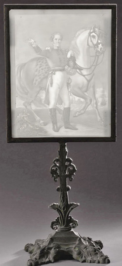 Winfield Scott rare lithopane (or lithophane) portrait with original cast metal display stand