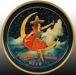 Tray Serving Miller Beer Miller Girl On Moon High Life