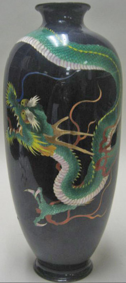 Vase Japanese Cloisonne Kinjiro Adachi Baluster Form Coiled Green Dragon 15 Inch