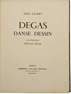 books, France, Paul Valery, <b><i>Degas Danse Dessin</i></b>, Paris, Ambroise Vollard editeur, 1936, bound by Jacques Anthoine Legrain, copy 55/305, 26 original color aquatint etchings, signed J. Anthoine Legrain inside front cover, with Rosenthal book plate, matching slip case with gilt tooling and edges. Book dealer's name and code in pencil on one front paper.