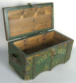 Paint Decorated Wood Strong Box Well Fargo Reproduction 2 Ft