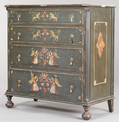 Furniture Chest Colonial Revival Huntley Simmons Paint Decorated 4 Drawers Bun Feet