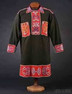 Clothing; Tlingit, Shirt, Beaded Cloth, Floral Design, 39 ...