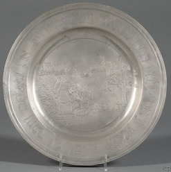 A German pewter Passover Seder plate depicting a scene of Mosesu0027s rescue; image credit on full record. & Pewter; German Plate Passover Seder Moses u0026 Hebrew Text 14 inch.