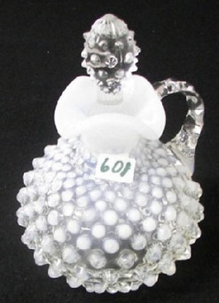 A Fenton glass cruet and stopper, French Opalescent, Hobnail pattern.