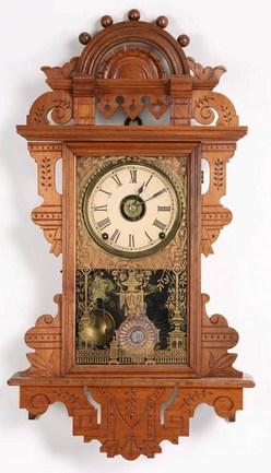 Wall clock seth thomas eclipse walnut 8 day 27 inch for Seth thomas wall clocks value