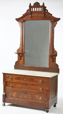 A Victorian Eastlake Marble Top Dresser With Three Drawers Image Credit On Full Record