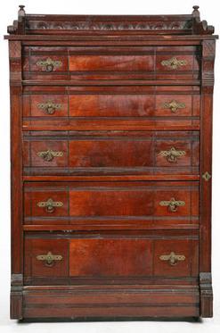 Furniture Chest Victorian Eastlake Walnut 5 Drawers