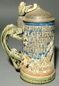 Mettlach Stein No 1786 Etched St Florian Dragon Handle Pewter Lid