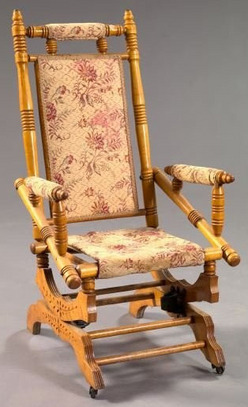 L199 Antique Victorian C. 1890 Solid Oak Rocking Chair Carved Back