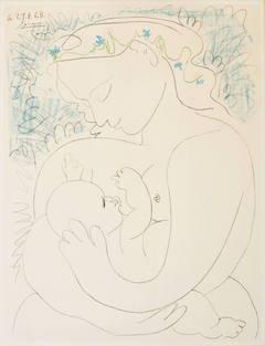 Picasso, Pablo; Lithograph, 1963, Maternite, Mother Nursing Child ...