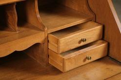 Furniture Secretary Ethan Allen Maple 2 Piece 2 Glazed Doors Slant Lid 5 Drawers Bracket