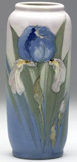 weller pottery  hudson  timberlake  sarah   vase  blue