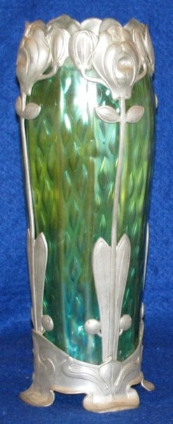 Loetz Glass Vase Iridescent Green Pewter Floral Decorated 13 Inch
