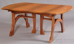 a gustave serrurier bovy padouk wood extendable dining table having arched supports and rounded ends in the art nouveau taste image credit on full record art deco dining suite