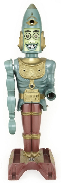 Big Loo Robot http://www.prices4antiques.com/Robot-Marx-Big-Loo-Giant-Moon-Robot-Plastic-Battery-Operated-D9729679.htm