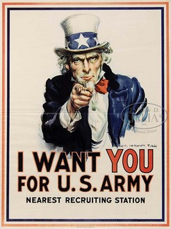 Uncle Sam World War I recruiting poster by James Montgomery Flagg