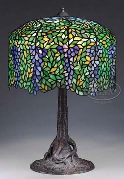 Table Lamp Unique Art Glass Leaded Glass Wisteria Tree