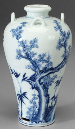 Porcelain Chinese Qing Dynasty Yongzheng Blue Amp White Vase Meiping Prunus Tree 8 Inch