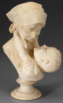 Alabaster Sculpture Vichi Ferdinando Signed Mother