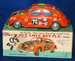 Toy Car; Taiyo, Volkswagen Love Love Beetle, Battery Operated, Box.