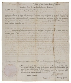 Thomas Jefferson [autograph/autographed] signed land grant, document signed, partially printed on vellum, May 2, 1803, signed by Thomas Jefferson as President (1801 to 1809) and James Madison as Secretary of State (President, 1809 to 1817).