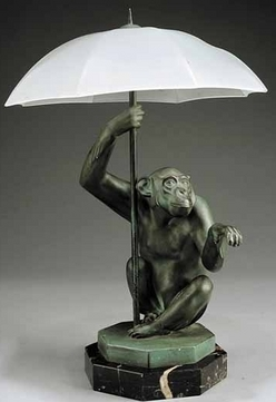 Table lamp french art deco seated monkey umbrella shade an art deco patinated metal figure table lamp 20th century after max le verrier french 1891 to 1973 called pluie rain image credit on full record mozeypictures