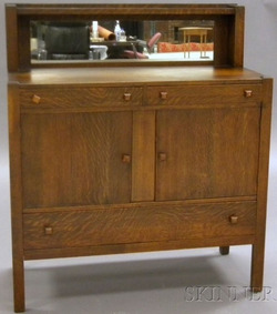 An Oak Arts U0026 Crafts Sideboard With Mirrored Back, Three Drawers, And Two  Doors, From The Master Craft Line, Northwestern Furniture, Burlington,  Iowa; ...