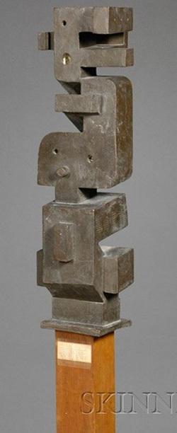Metal Sculpture Konzal Joseph Signed Cubist Stacked