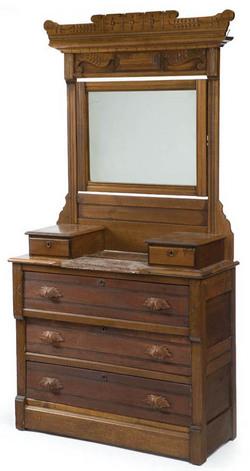 Furniture Dresser Victorian Eastlake Walnut Mirror
