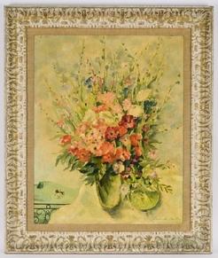 De botton jean oil on masonite painting signed 1942 bouquet de fleurs des champs - Bouquet de fleurs des champs ...