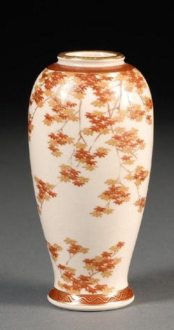 Satsuma Pottery Japanese Koshida Vase Turnip Shaped Maple Leaves 6 Inch