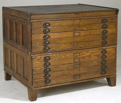 An Oak Flat File Cabinet With Ten Drawers And Paneled Sides Hamilton Manufacturing Company Image Credit On Full Record