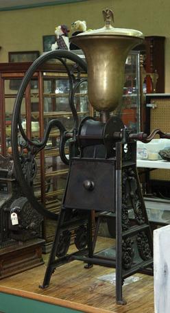 Coffee Mill Floor Model Brass Hopper Cast Iron Stand 1
