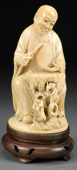 Carving Chinese Ivory Figure Of Seated Luohan Hand