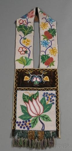 bag  ojibwa  bandolier  beaded cloth  floral design  45 inch
