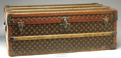trunk louis vuitton steamer fabric lined interior tray paper label 36 inch. Black Bedroom Furniture Sets. Home Design Ideas