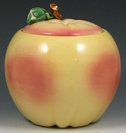 Cookie Jar Mccoy Pottery Apple Yellow Peach Accents 8