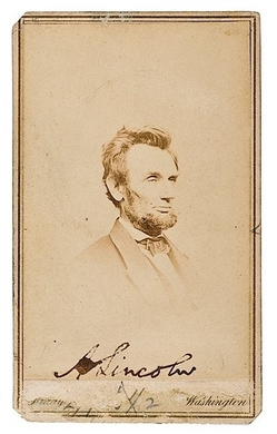 Signed Photograph Lincoln Abraham Portrait Cdv