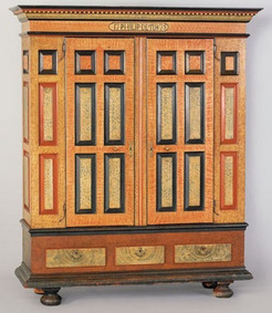 """A highly important Berks County, Pennsylvania, painted schrank dated 1775, inscribed """"17 Philip Detuk 75""""."""