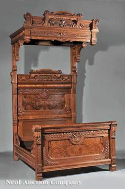 An American Eastlake Carved And Burl Walnut Three Piece Bedroom Suite,  Circa 1870, View Of The Bed; Image Credit On Full Record.