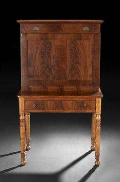 Furniture: Desk-Plantation; Sheraton, Mahogany, Paneled ...