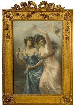 Bisson Edouard Lithograph Dated 1902 Two Maidens And